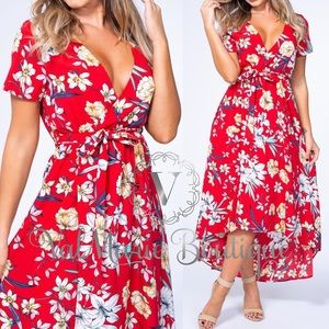 Red floral high low maxi dress